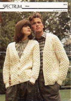 Womens / mens Aran cardigan knitting pattern PDF Aran Jacket v neck pockets…
