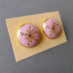 Pink Queen Anne's Lace earrings #christmasgift #gift #pink #earrings #gold