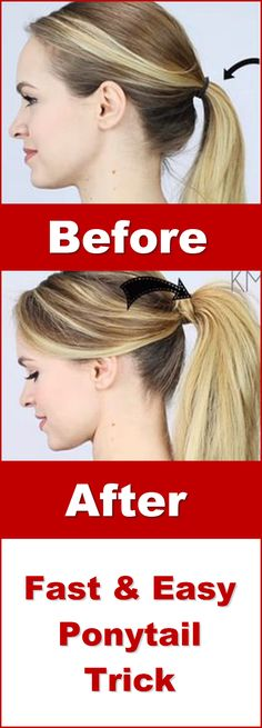 Easy ponytail hairstyle trick tutorial.  Make your long hair look much better in a pony tail.  Of all hairstyles out there, this ponytail hair idea is my go to... super easy to do.