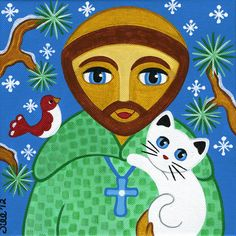 Saint Francis visits with his winter friends while walking through the woods. This is a PRINT of my original acrylic-on-canvas painting. Francis Of Assisi, St Francis, Patron Saint Of Animals, St Clare's, Cat Art Print, Ecole Art, Pet Day, Batik, Arte Popular