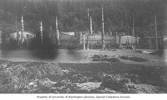Kaigani Village of Kasa-an, as seen from the east, Skowl Bay, Alaska, 1885 La Rive, Raven, Alaska, Nativity, Digital, Winter, Painting, North West, Winter Time
