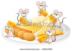 Illustration of the five mice with cheese and biscuits on a white background