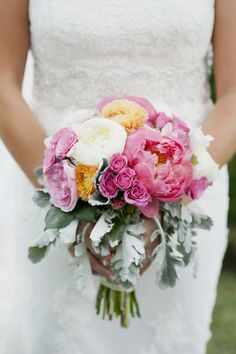 Pink Peony Bridal Bouquet with Orange and White