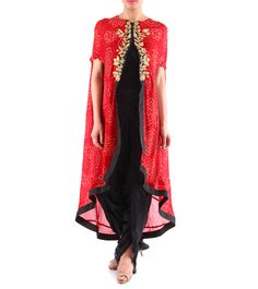 Black Silk Dhoti With Red Bandhani Cape #indianroots #fusionwear #dhotipants #cape #silk #bandhani #summerwear #occasionwear