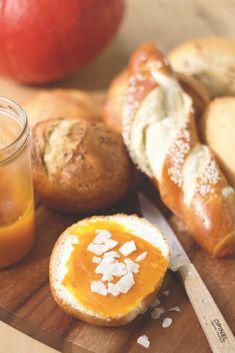 Kürbis-Kokos-Konfitüre (vegan)   feines gemüse Superfood, Vegan, Sans Gluten, Pretzel Bites, Food Inspiration, Hamburger, Nom Nom, Bread, Canning