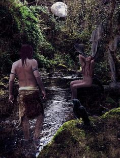 In Irish Celtic Myth as can be read in the Lebor Gabála Érenn or the Book of Invasions, that one night during Samhain The Dagda, one of the Tuatha De Danaan was walking home when he happened upon a beautiful woman bathing in a ford, with nine tresses in her hair. That woman was The Morrigan, and that night they slept together. In exchange, The Morrigan gave The Dagda battle plans and the promise that the Tuatha De Danaan would win the upcoming battle against the Fomorians.