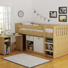 Merlin Study Bunk Bed - This versatile study bunk comes complete with a pull-out desk, bookcase and a storage cupboard which all sit neatly under the cosy bed, making this the perfect solution for when space is at a premium. £649.