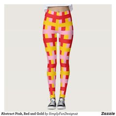 Abstract Pink, Red and Gold Leggings