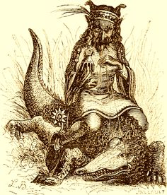 The Demon Agares as depicted in Collin de Plancy's Dictionnaire Infernal, 1863 edition.
