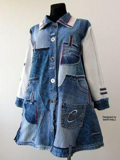 Long Denim Jacket, Striped Jacket, Denim Coat, Denim Duster, Denim Flares, Denim Ideas, Denim Patchwork, Casual Winter Outfits, Denim Fashion