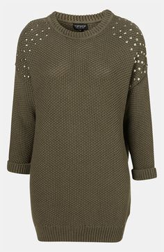 Topshop Studded Shoulder Tunic Sweater available at #Nordstrom