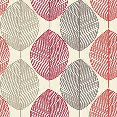 Arthouse Wallpaper Opera Retro Leaf Red. Retro yet funky - the colours keep it modern