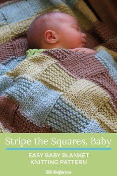 Easy Baby Knitting Patterns, Free Baby Blanket Patterns, Crochet Blanket Patterns, Baby Patterns, Easy Knit Baby Blanket, Knitted Baby Blankets, Cotton Baby Blankets, Loom Knitting, Knitting Stitches