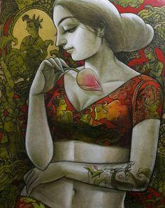 Radhika - I by Sukanta Das Indian Art Paintings, Great Paintings, Beautiful Paintings, Indian Folk Art, Indian Artist, Indian Art Gallery, Square Canvas, India Art, Krishna Art