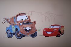 Cars wall mural - drawn and painted by Eric - with Lightning McQueen and Mater