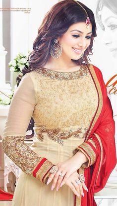 Ayesha takia Eid Special beige color salwar Anarkali Suit