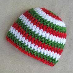 Crochet Baby Hat, Crochet Newborn Hat, Christmas, Red White Green. $15.00, via Etsy.
