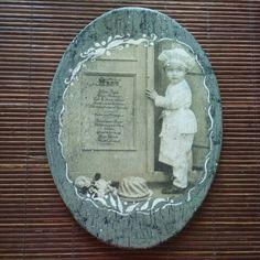 decopage, vintage, handmade мальчик кракелюр дощечка