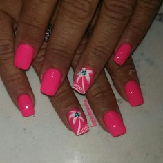 Palm tree nail-art by Brandy Sunday !!  #beachnails #summernails