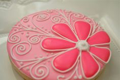 Hot Pink Flower with White Swirls Pink Cookie