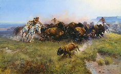 Title: The Buffalo Hunt, 1919 Artist: Charles Marion Russell Medium: Hand-Painted Art Reproduction