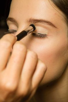 """Christian Dior- Peter Philips applied strips of adhesive metallic """"liner"""" to the lids at Dior, with white applied to the lower lash line to mute the natural colour. Party Makeup, Eye Makeup, Hair Makeup, Christian Dior, Dark Smokey Eye, Vogue, Lower Lashes, Dior Couture, Celebrity Beauty"""