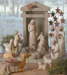 12 days of Christmas using the nativity scene. Doorbell ditching fun. We're doing this for our kids with the little people set. Have to substitute a sheep for the shepherd.