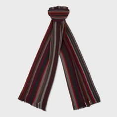 Paul Smith Men's Scarves | Red Twisted Stripe Wool Scarf Men's Scarves, Striped Scarves, Wool Scarf, Paul Smith, Red, Pants, Color, Style, Fashion