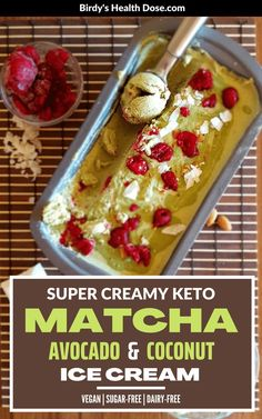Matcha, avocado, and coconut ice cream, a cool, super creamy, and delicious dessert that is perfect for hot summer days, as a bonus is also healthy, being a keto, vegan, sugar-free, and dairy-free recipe. Delicious Vegan Recipes, Spicy Recipes, Dairy Free Recipes, Healthy Desserts, Delicious Desserts, Healthy Recipes, Matcha, Plant Based Breakfast, Good Food