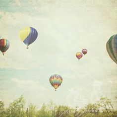 Abstract Fine Art Photograph, Hot Air Balloons, Sky, Vintage Colorful Tones, Childrens Room Art, Whimsical Photo, Square 5x5 Print