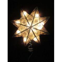ksa 8 lighted capiz shell 8 point gold star christmas tree topper clear - Lighted Christmas Tree Toppers