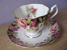 Vintage 1950's Black & White tea cup Queen Anne by ShoponSherman