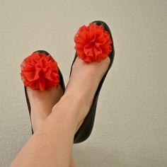 Fabric Flower Shoe Clip - Poppy Red Chiffon Ruffle. $28.00, via Etsy.