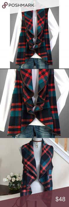 ⬇️ SALE - Plaid Waterfall Vest, Side Pockets 💐Not your ordinary vest. This plaid vest has a cascading front opening, Vegan leather piping and side pockets. Perfect with a pair of jeans and your favorite blouse or turtleneck. Measurements: S, M, and L. Jackets & Coats Vests