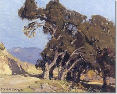 TREES ON A CALIFORNIA HILLSIDE by Edgar Alwyn Payne (1883 - 1947) oil on canvas 16 x 20