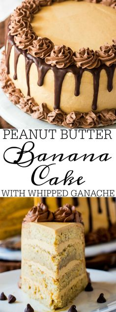 Moist and dense banana cake is filled and frosted with peanut butter buttercream and decorated with whipped chocolate ganache making this Peanut Butter Banana Cake with Whipped Ganache a seriously delicious indulgence.