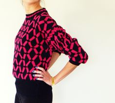 Vintage Hot Pink Geometric Sweater/80s Dolman Sweater/Bright Neon Pink and Black