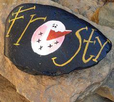 "Hand Painted ""FROSTY"" Snowman Rock Art/Home Decor/Christmas/Winter Decor by ARockForAllSeasons on Etsy"