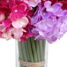 Arranjo de flores artificiais hortência mista 28x20 cm