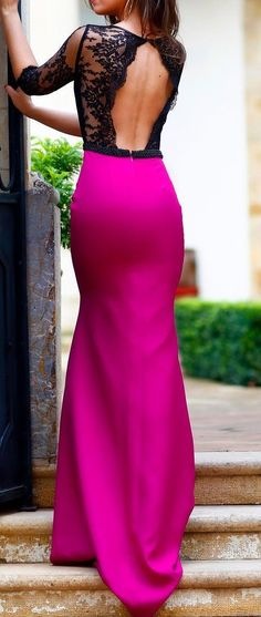 "Hot pink & lace back open dress. jaglady ""prom dress #promdress /prom-dresses-us63_1"