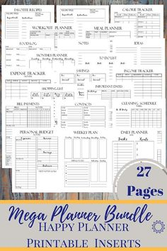 Mega Planner Bundle : Personal, Fitness and Finance Pages - Classic Happy Planner Printable Insert, Mambi, Create365,Kikki, 7x 9.25 in  Mega Planner inserts for your Happy Planner ! Includes 27 pages in total!!! Awesome planners for Fitness, Finance and Life. -----------------------------------------------------------------------------------------------------  WHAT IS INCLUDED:  ►Life Planner  ▶ Daily Planner Insert - 1 PDF File ▶ Weekly Planner Insert - 1 PDF File ▶ Monthly Personal Planner…