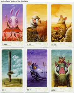 Magical Forest tarot cards, comical little creatures who also tell you secrets.