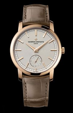 The classic and timeless Patrimony Traditionnelle small seconds celebrates the inauguration at Rue de la Paix of an pink gold spe. Stylish Watches, Luxury Watches For Men, Cool Watches, Black Watches, Elegant Watches, Gentleman Watch, Vacheron Constantin, Swiss Army Watches, G Shock Watches
