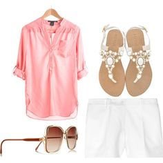 Love this coral shirt with the white shorts