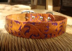 Embossed British Tan and Violet Leather Dog Collar. Hand Dyed and Painted Western Vine Pattern. Size Small, Medium, or Large.