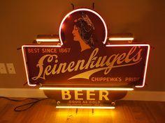 leinenkugel neon sign - Google Search Beer Signs, Old Signs, Bottle Shop, Beer Bottle, Canadian Beer, Advertising, Ads, Brew Pub, Liquor Store