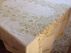 Vintage Tablecloth Linen Kitchen Tablecloth Handmade