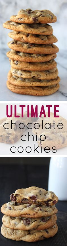 Ultimate Chocolate Chip Cookies - Handle the Heat. Honestly, the best chocolate chip cookies recipe I've found! **I went ahead and also made a batch with mini oreos in the middle :) Oreo Dessert, Cookie Desserts, Just Desserts, Cookie Recipes, Delicious Desserts, Dessert Recipes, Yummy Food, Baking Cookies, Chewy Chocolate Chip Cookies