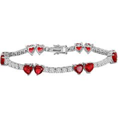 Lab-Created Ruby and Cubic Zirconia Heart Bracelet ($87) ❤ liked on Polyvore featuring jewelry, bracelets, cubic zirconia jewelry, ruby jewellery, cubic zirconia bangles, cz jewelry and cz jewellery