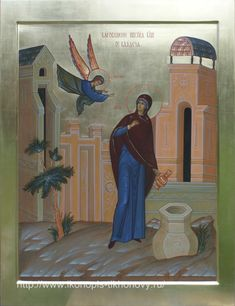 Храмовая икона The Annunciation. This is the first one I have seen where the BVM is drawing water from a well. But i haven't looked at many icons of the Annunciation.